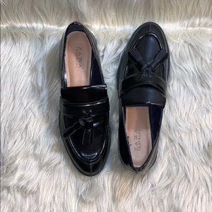 Zara Men black leather tassel loafers